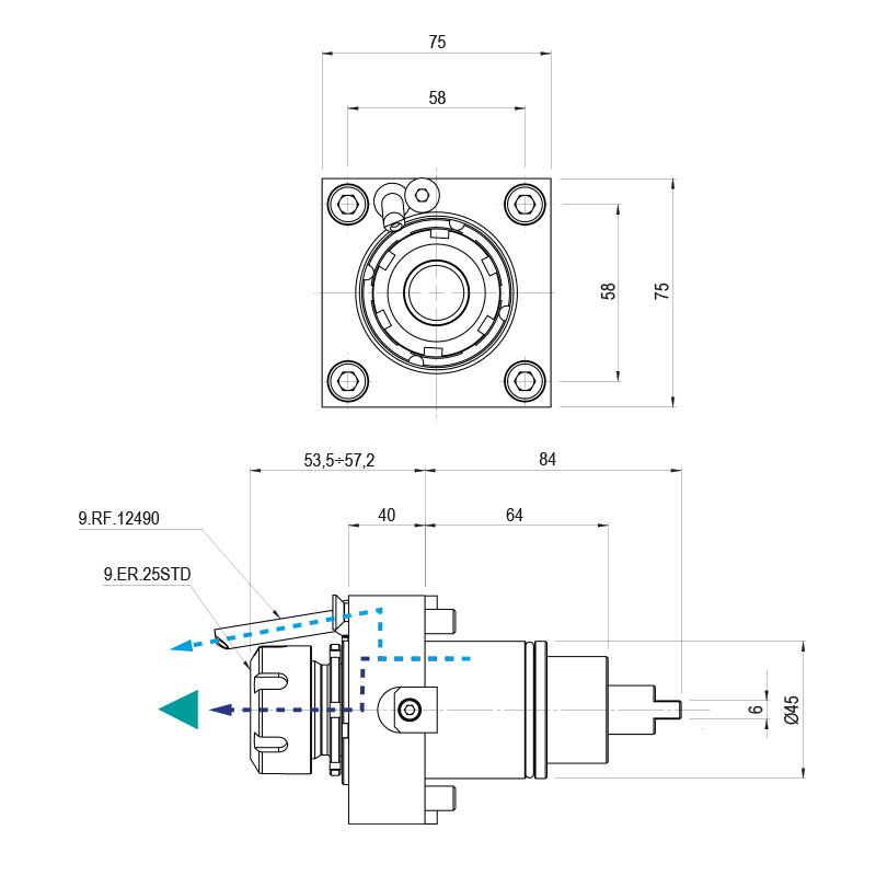 Axiális hajtott tartók BMT 45 csatlakozással