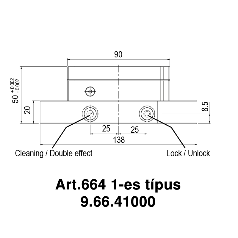Pneumatikus nullpont, összetett alkalmazáshoz, peremes rögzítéssel