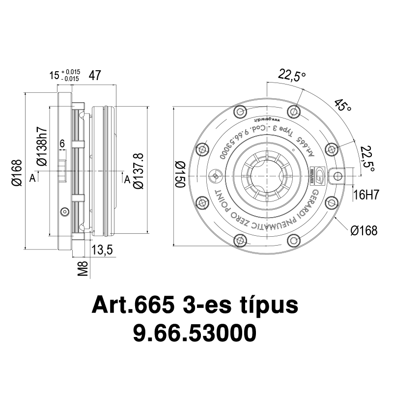 Pneumatikus nullpont, összetett alkalmazáshoz, beépíthető kivitel