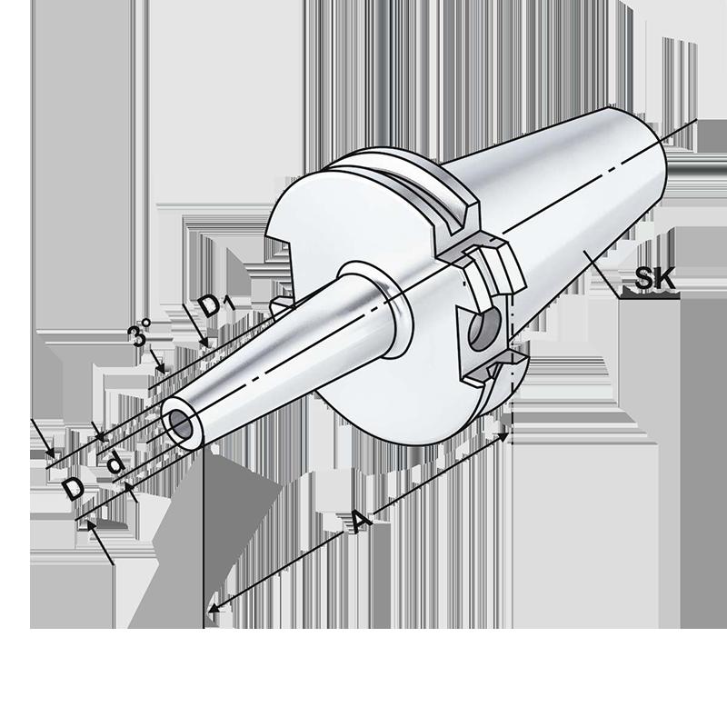SK csatlakozású zsugorkötésű szerszámtartó AD/B hűtéssel, vékonyított kivitel