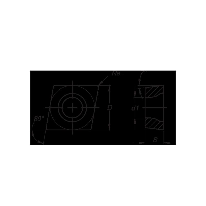 CCMT esztergalapka, 2 élű, FM forgácstörővel