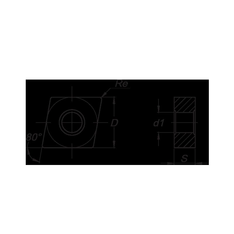 CNMG esztergalapka, 4 élű, SS forgácstörővel