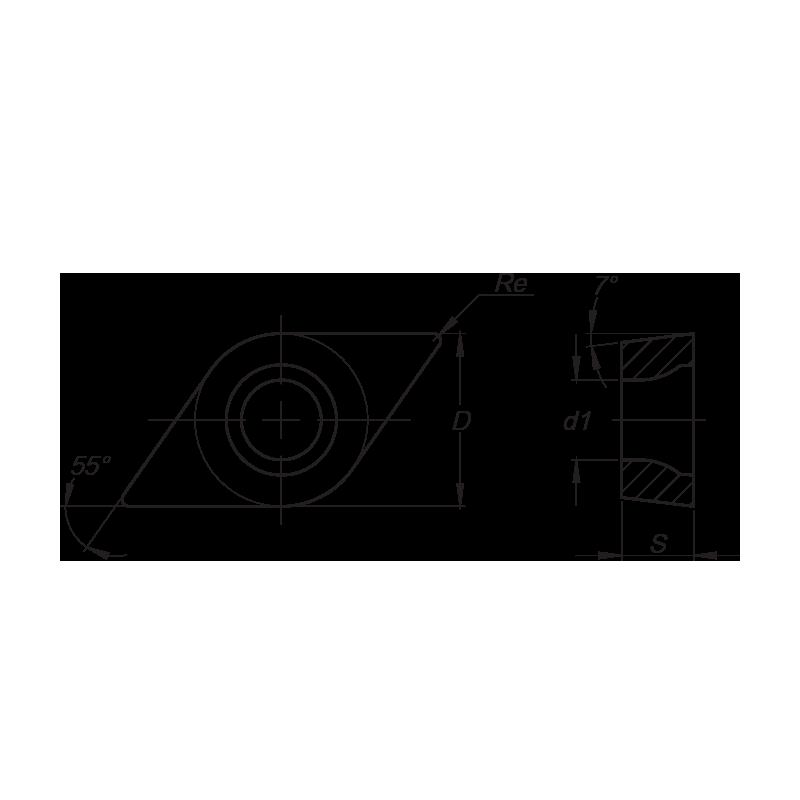 DCMT esztergalapka, 2 élű, FP forgácstörővel