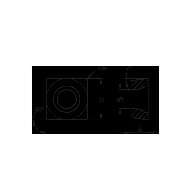 SCMT esztergalapka, 4 élű, MM forgácstörővel