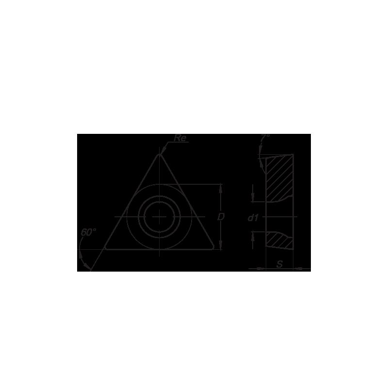 TCMT esztergalapka, 3 élű, MM forgácstörővel
