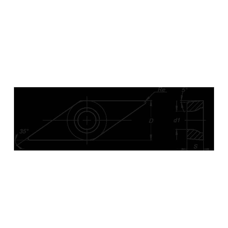 VBMT esztergalapka, 2 élű, MM forgácstörővel