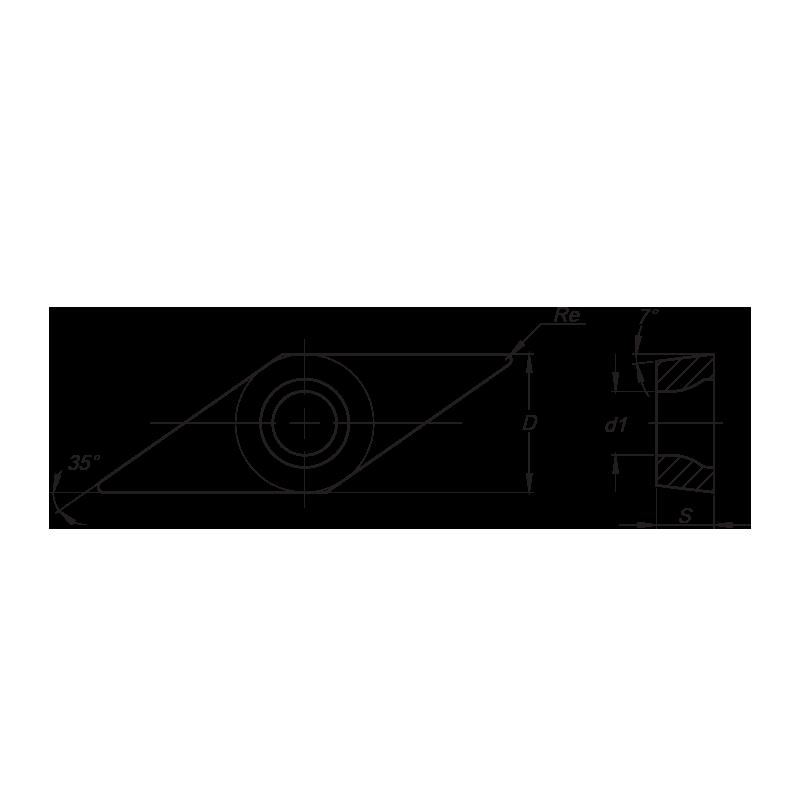 VCMT esztergalapka, 2 élű, MM forgácstörővel