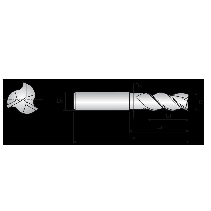 Alu-Power 3 élű, sarkos, nyakas KMF maró