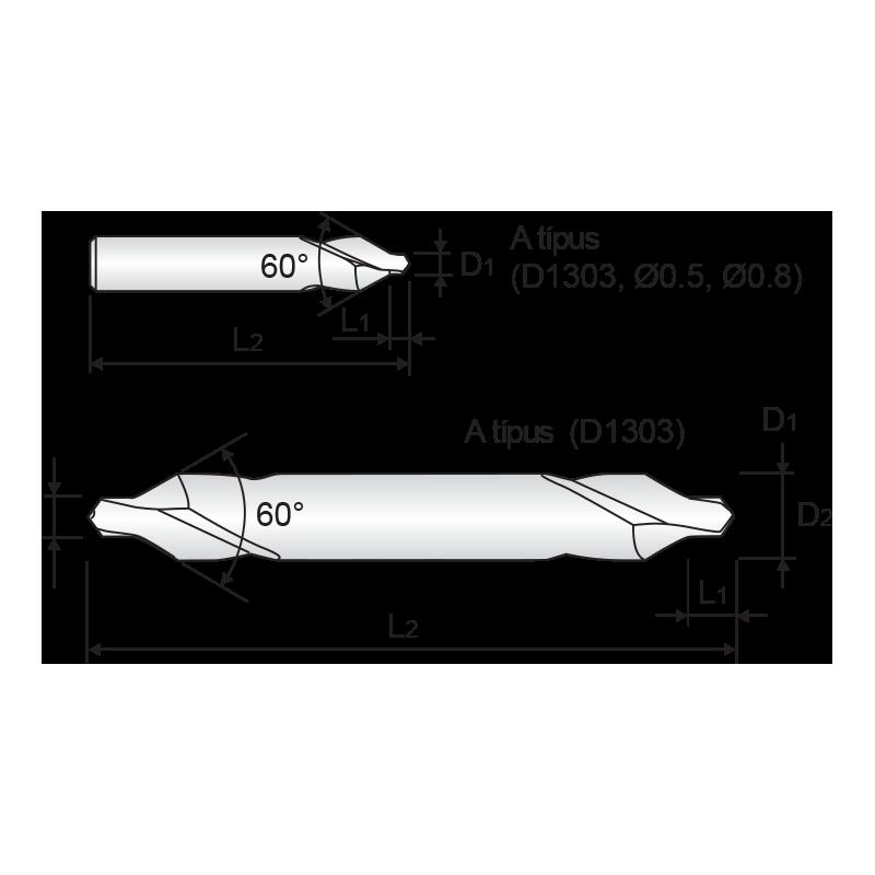 HSS központfúró, A alak (60°)