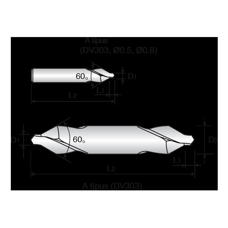 HSS-E központfúró, A alak (60°)