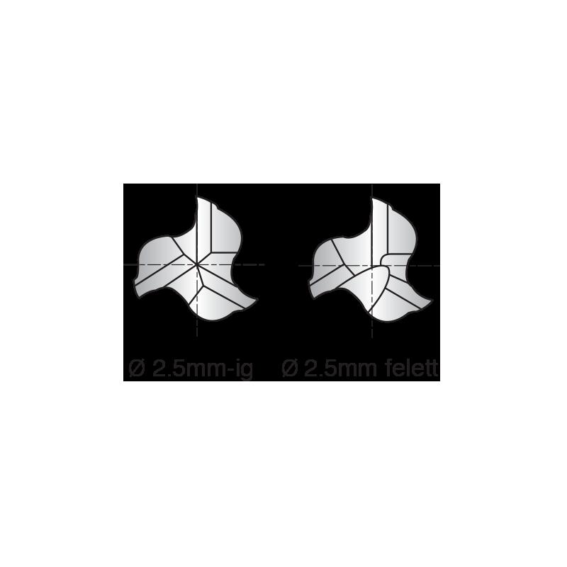 3 élű, sarkos HSS-Co8 maró, rövid kivitel