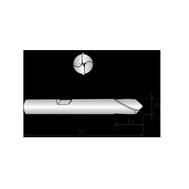Keményfém NC központfúró, 90°-os csúcsszöggel