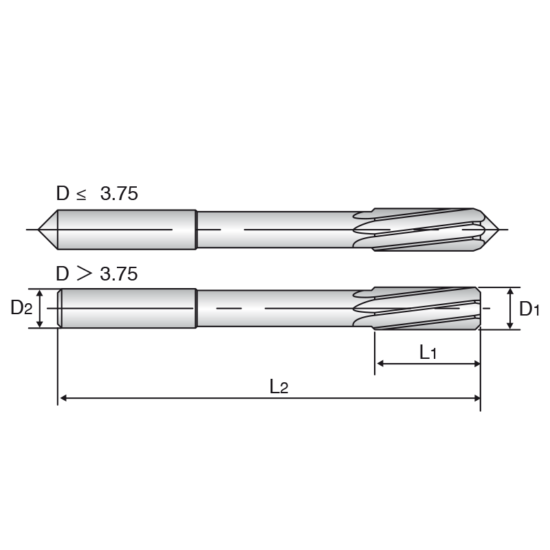 HSS-E NC gépi dörzsár hengeres szárral, csavarthornyú kivitel