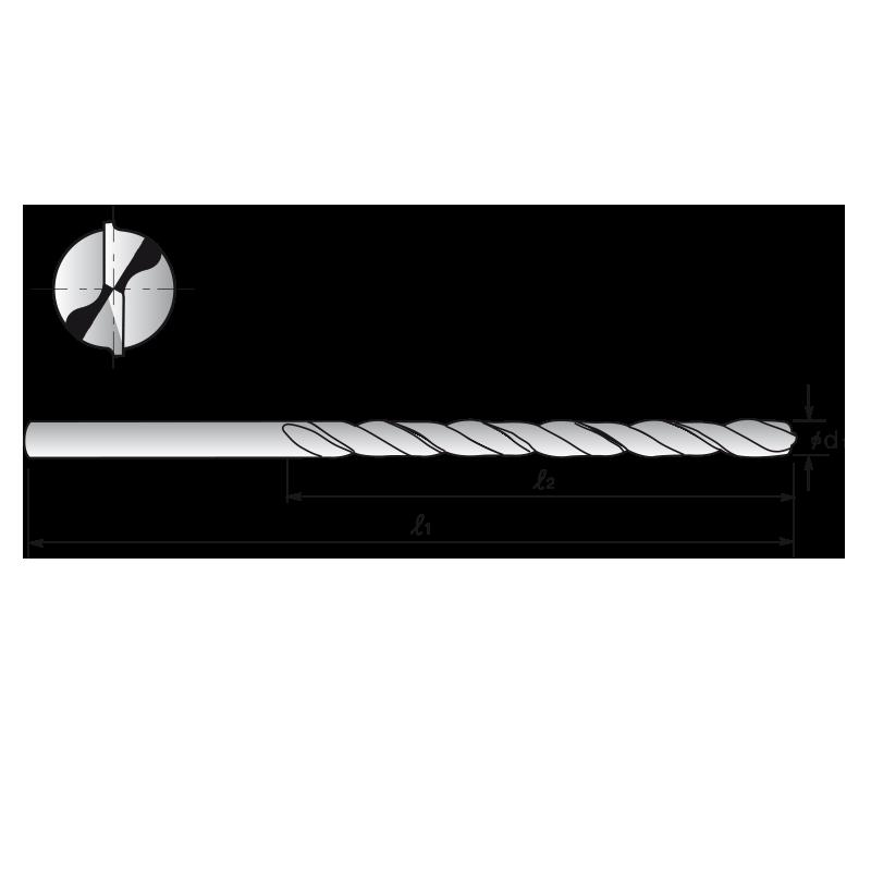 HSS-Co8 fúró, hosszú kivitel