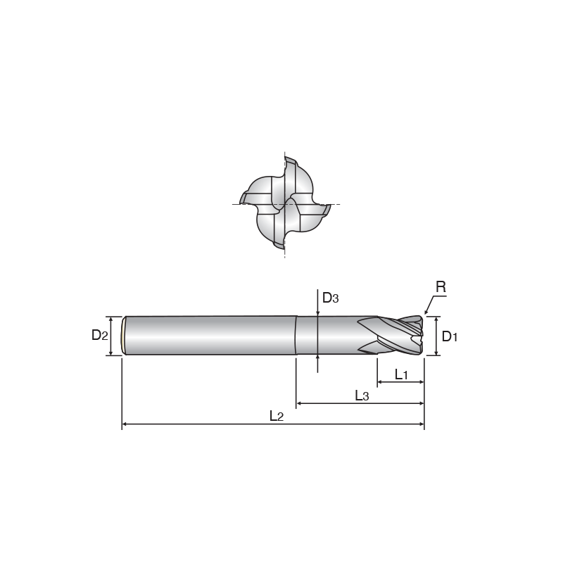 X5070 4 élű, sarokrádiuszos KMF maró, hosszított nyakkal