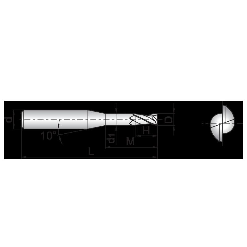 GM series 2 élű, bevonatos KMF maró, nyakalt kivitel