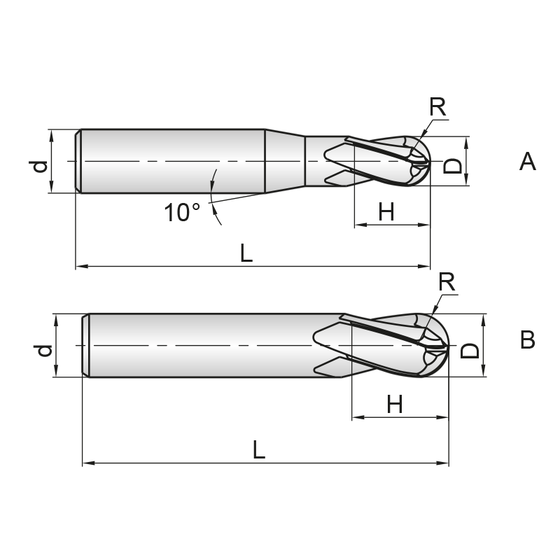 GM series 4 élű, bevonatos KMF gömbmaró, hosszú kivitel