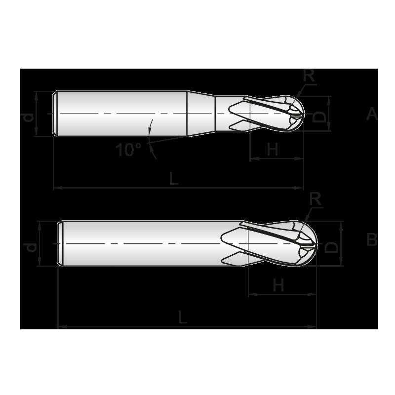 GM series 4 élű, bevonatos KMF gömbmaró