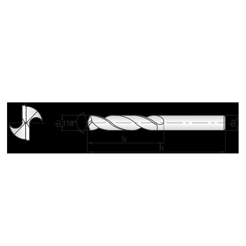 SC series, bevonat nélküli KMF fúró 3xD